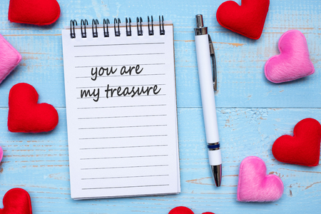 YOU ARE MY TREASURE word on note book and pen with red and pink heart shape decoration on blue wooden table background. Wedding, Romantic and Valentine' s day concept