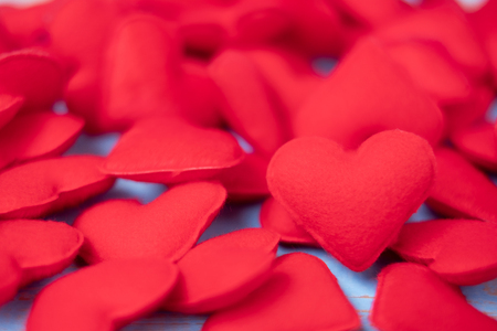 red heart shape decoration background. Love, Wedding, Romantic and Happy Valentine' s day holiday concept