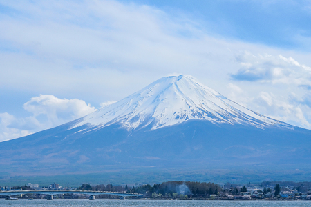 Fuji mountain with snow capped in the morning Sunrise at Lake kawaguchiko, Yamanashi, Japan. landmark and popular for tourist attractions
