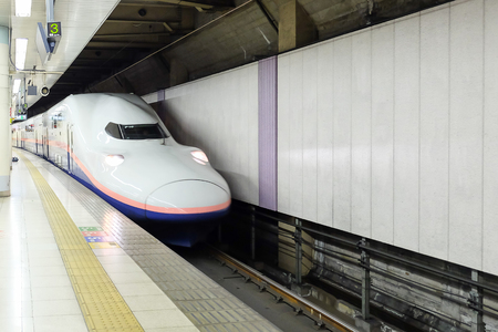 Japanese Shinkansen high-speed bullet departing from Ueno station to Gala Yuzawa staiom; Ueno, Tokyo,  JAPAN  8 April 2018