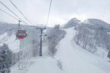blur of Cable car Sky on Snow mountain at Gala Yuzawa near Tokyo. popular for tourist attractions in Japan