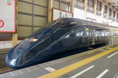 Genbi Shinkansen high-speed bullet train line from Echigo-Yuzawa station ; YUZAWA  JAPAN  8 April 2018