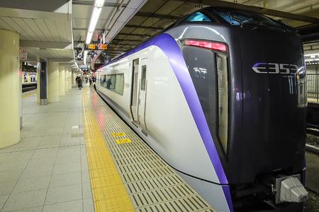 JR Chuo line Limited express bullet train line from Shinjuku station to Otsuki station ; Tokyo, JAPAN  9 April 2018 Редакционное