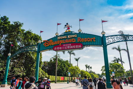 Entrance gate of Hong Kong Disneyland resort, landmark and popular for tourist attraction; Hong Kong, China,17 December 2018