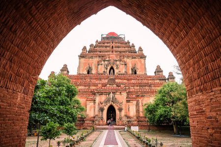 Beautiful morning ancient temples and pagoda in the Archaeological Zone, landmark and popular for tourist attractions and destination in Bagan, Myanmar. Asia Travel concept