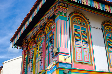 Colorful facade architecture building, Vibrant color of wooden windows in Little India district, landmark and popular for tourist attractions in Singapore . Southeast Asia Travel concept
