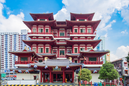 Buddha Tooth Relic Temple and Museum in Chinatown of Singapore. landmark and popular for tourist attractions. Southeast Asia Travel concept