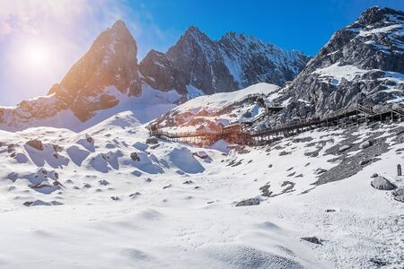 Beautiful of Jade Dragon Snow Mountain or Yulong in Chinese language, landmark and popular spot for tourists attractions near Lijiang Old Town. Lijiang, Yunnan, China
