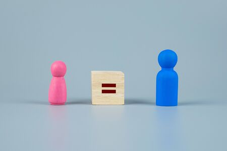 cube block of equal sign between Pink Women and Blue Men wooden symbol. gender equality concept