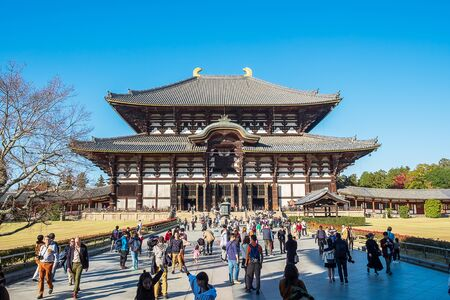 Todaiji temple is one of Japan's most famous, the Daibutsu (Big Buddha Hall), record as the world's largest wooden building. landmark for tourists attractions in Nara. Nara, Japan, 23 November 2019