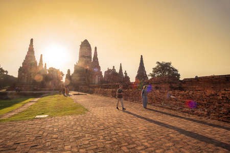 Beautiful sunset ancient stupa in Wat Chaiwatthanaram temple in Ayutthaya Historical Park, a UNESCO world heritage site in Thailand. Ayutthaya, Thailand, 14 November 2020