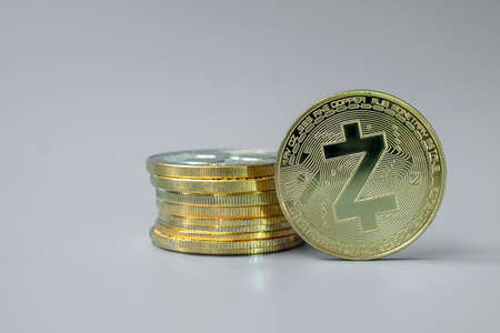 golden ZCASH (ZEC) cryptocurrency coin stack, Crypto is Digital Money within the blockchain network, is exchanged using technology and online internet exchange. Financial concept Stock fotó