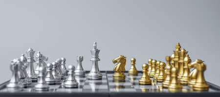 Gold and silver Chess figure on Chessboard against opponent or enemy. Strategy, Conflict, management, business planning, tactic, politic, communication and leader concept Standard-Bild