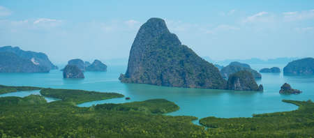 Scenery Phang Nga bay view point at Samet Nang She near Phuket in Southern, Thailand., landmark and popular for tourists attraction. Southeast Asia travel and tropical summer vacation concept