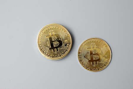 golden Bitcoin cryptocurrency coin stack, Crypto is Digital Money within the blockchain network, is exchanged using technology and online internet exchange. Financial concept