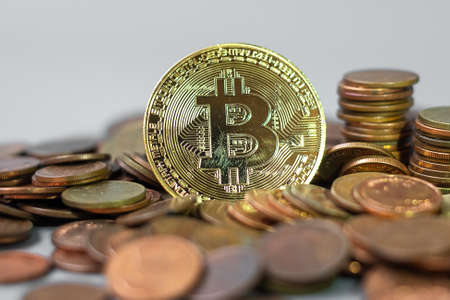 golden Bitcoin cryptocurrency and coin stack, Crypto is Digital Money within the blockchain network, is exchanged using technology and online internet exchange. Financial concept Standard-Bild