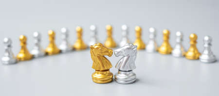 Gold and silver Chess Knight (horse) figure against pawn. Strategy, Conflict, management, business planning, tactic, politic, communication and leader concept Imagens