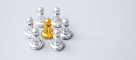 golden chess pawn pieces or leader  leader businessman with circle of silver men. leadership, business, team, and teamwork concept Imagens