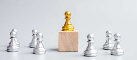 golden chess pawn pieces or leader  businessman with circle of silver men. victory, leadership, business success, team, and teamwork concept Imagens