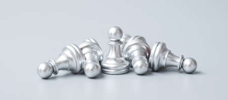silver Chess pawn figure stand out from crowd of enermy or opponent. Strategy, Success, management, business planning, disruption, win and leadership concept Imagens