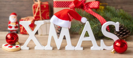 Merry Christmas with decoration on table. Xmas eve, party, holiday and happy New Year concept