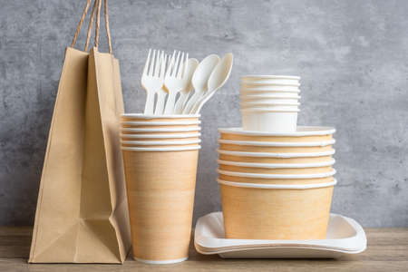 Eco friendly food packaging on table background. natural container: cup, plate, spoon and fork. zero waste, pollution, earth day, free plastic, world Environment day concept