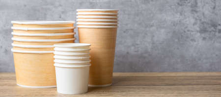 Eco friendly food packaging on table background. natural container: cup and bowl. zero waste, pollution, earth day, free plastic, world Environment day concept
