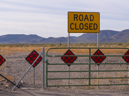 Phoenix Arizona Desert Road Closed Tight Shot