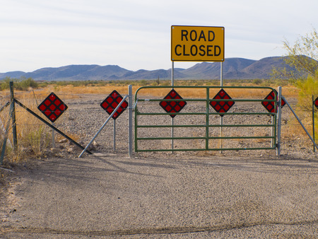 Phoenix Arizona Desert Road Closed Wide Shot