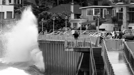 clair: People watching wave splashing in Dundedin New Zealand Editorial