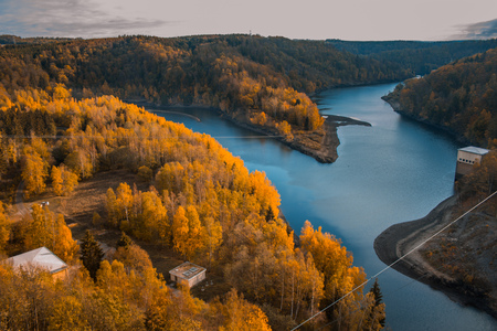 Rappbodetalsperre and Rappbode River in Harz Mountains National Park, Germany