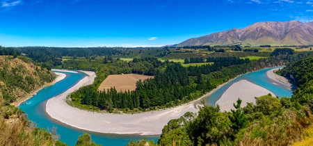 picturesque Rakaia Gorge and Rakaia River on the South Island of New Zealand