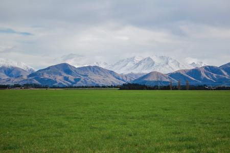 view over Mount Hutt from Methven village, Canterbury, South Island, New Zealand