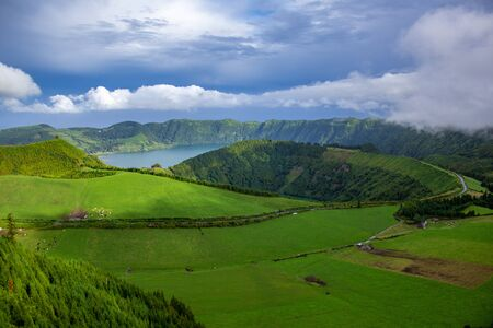 View over Sete Cidades Lakes on a cloudy day, Sao Miguel Island, Azores, Portugal