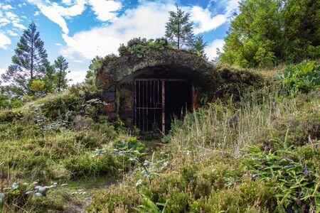 little abandoned bunker next to Lagoa Rasa, Sao Miguel Island, Azores, Portugal