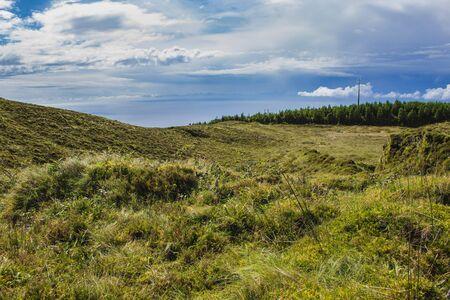 view over the beautiful landscape of Serra Devassa, Sao Miguel Island, Azores, Portugal