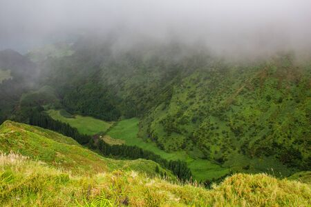 famous view of picturesque Sete Cidadas on a cloudy day, Sao Miguel Island, Azores, Portugal