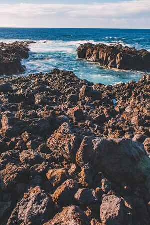rocky coastline at the west coast of Sao Miguel Island, Azores, Portugal