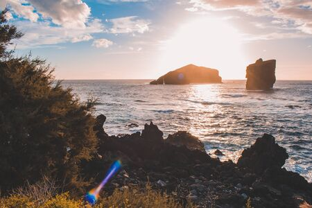 view from Ponta do Castelo, rocky coastline at the west coast of Sao Miguel Island, Azores, Portugal