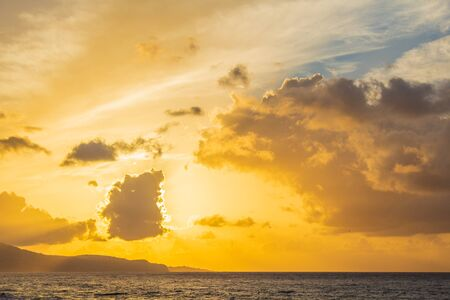 beautiful golden sunrise at Ponta Delgada port, Sao Miguel Island, Azores, Portugal