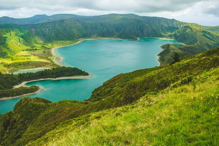 beautiful view of Lagoa do Fogo lake on the island of Sao Miguel, Azores, Portugal Stock fotó