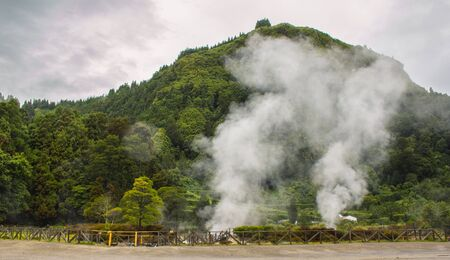 Geothermal activity in Furnas village, Sao Miguel, Azores, Portugal