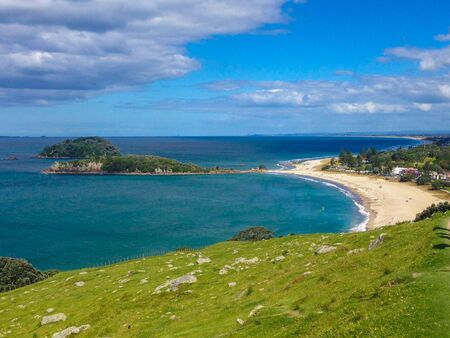 View over Mount Maunganui city from Mount Maunganui on the North Island, New Zealand