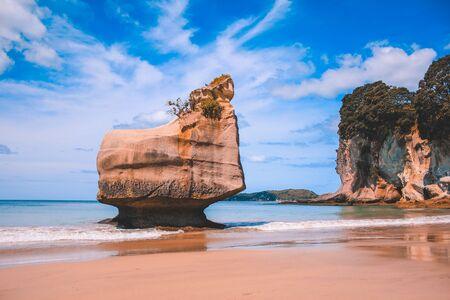 Cathedral Cove on the Coromandel Peninsula, North Island, New Zealand Stock Photo
