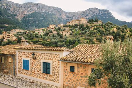 view over Deia town at the west coast of Mallorca, Spain