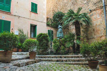 empty street with cobble stones in Valldemossa, Mallorca, Spain
