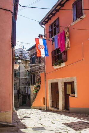 Empty street in the old town of Rovinj, Istrian Peninsula in Croatia. The town is a popular tourist destination in summer