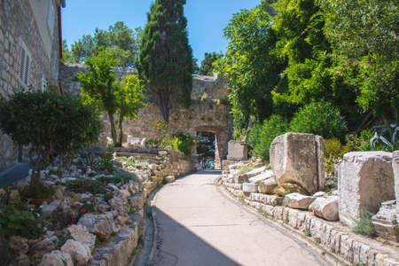Small garden at Komrcar park in Rab town on Rab island in Croatia