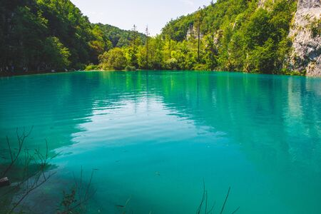 Picturesque landscape at Plitvice Lakes National Park in Croatia.