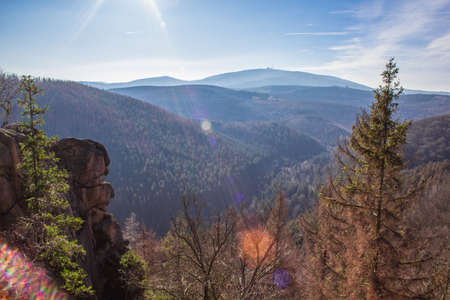 Scenic view from Rabenklippe in Harz Mountains National Park, Germany